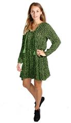 MADE IN ITALY GREEN LEOPARD PRINT FLARE DRESS
