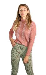 TOP VOGUE PINK LACE SWEATER