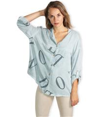 MADE IN ITALY LIGHT BLUE TEXT DETAIL BLOUSE