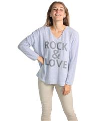 MADE IN ITALY LILAC BLUE ROCK AND LOVE TOP