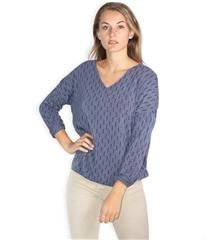 MADE IN ITALY NAVY GOLD STRIPE DETAIL TOP
