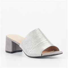 MISS BLACK PEWTER ASHU BLOCK HEEL MULE
