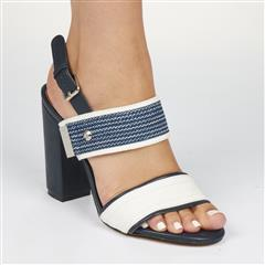 MISS BLACK NAVY COMONI BLOCK HEEL SANDAL