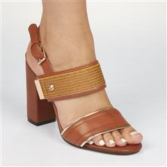 MISS BLACK TAN COMONI BLOCK HEEL SANDAL