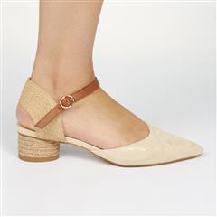 MISS BLACK NUDE WOVEN DETAIL CURVE HEEL