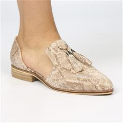 MISS BLACK TAUPE FAUX SNAKESKIN SUNDAY SLIP ON
