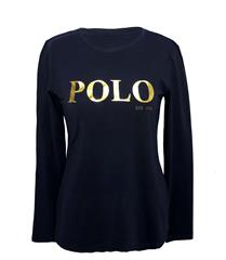POLO NAVY LONG SLEEVED GOLD PRINT TEE