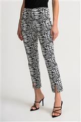 JOSEPH RIBKOFF BLACK WHITE TIGER PRINT PANTS