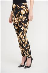 JOSEPH RIBKOFF BLACK BROWN FLORAL CROPPED PANT