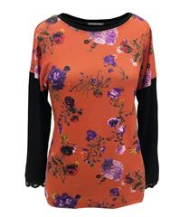 CASCA ORANGE FLORAL TOP WITH LACE DETAIL SLEEVE