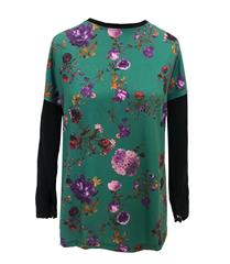 CASCA GREEN FLORAL TOP WITH LACE DETAIL ON SLEEVE
