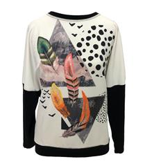CASCA WHITE ABSTRACT FEATHER TOP