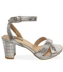 STACCATO SILVER BLOCK HEEL