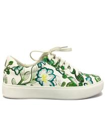 JOLIE GREEN MOCK EMBROIDERED FLORAL SNEAKER