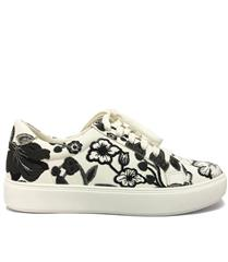 JOLIE BLACK MOCK EMBROIDERED FLORAL SNEAKER