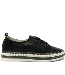 JOLIE BLACK LEATHER DIAMANTE FLATFORM