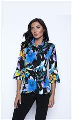 FRANK LYMAN BLACK BLUE ORANGE FLORAL KNIT JACKET