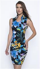 FRANK LYMAN BLACK BLUE ORANGE FLORAL PRINT KNIT DRESS
