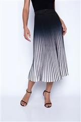 FRANK LYMAN BLACK WHITE OMBRE PLEATED SKIRT