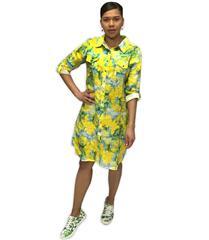 JOLIE YELLOW MULTI ANNIE LINEN SHIRT DRESS