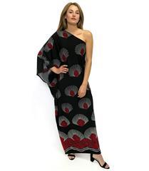 JOLIE BAM BAM BLACK RED PRINT OFF SHOULDER DRESS