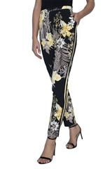 FRANK LYMAN YELLOW BLACK FLORAL PRINTED PANTS