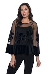 FRANK LYMAN BLACK SHEER TOP AND CAMISOLE