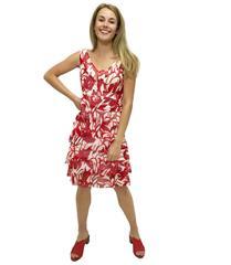 JOLIE RED WHITE BEANDRA MESH DRESS