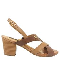 HUSH PUPPIES TAN LEATHER BRUNILDA SANDAL