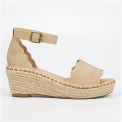 MISS BLACK JAYDA ESPADRILLE WEDGE- NUDE