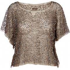 NU TAUPE CAYLA SEQUINS MESH TOP
