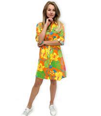 JOLIE ORANGE HAWAIIN PRINT ANNIE SHIRT DRESS
