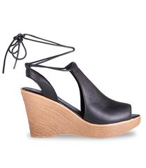 FROGGIE BLACK LEATHER HIGH WEDGE LACE- UP